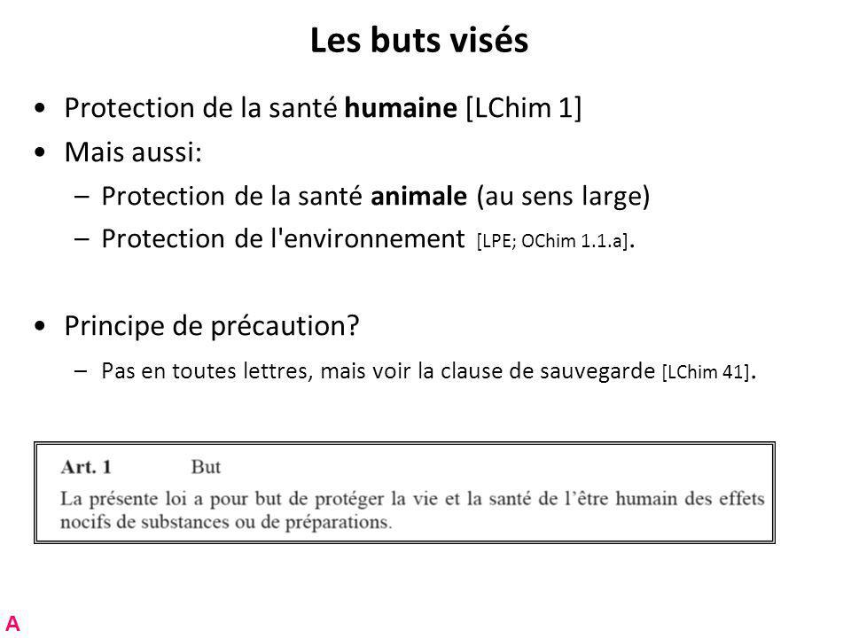 Les buts visés Protection de la santé humaine [LChim 1] Mais aussi: